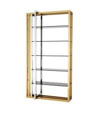 Glamouröses Regal mit goldenem Finish und dunklen Glasplatten