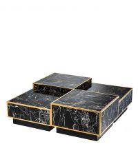 Vierteiliger Couchtisch in schwarzer Marmor-Optik mit goldenen Kanten von Eichholtz