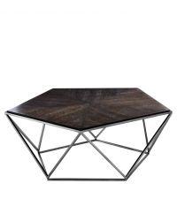 Pentagonförmiger Couchtisch aus Eichenholzfurnier und dreieckigem geometrischen Gerüst von Eichholtz