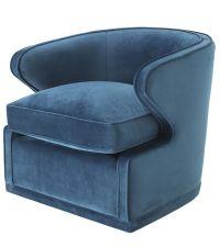 blauer Armlehnsessel mit dickem Sitzkissen und Samtbezug, Eichholtz