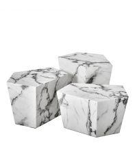weißes 3-teiliges Faux-Marmortisch-Set Eichholtz