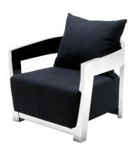 schwarzer sessel mit uberkreuzten chromfuessen eicholtz. Black Bedroom Furniture Sets. Home Design Ideas