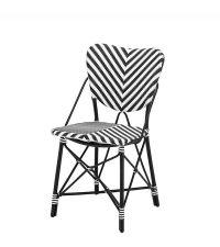 Rattan-Sessel mit Zickzack-Muster im Bistro-Stil von Eichholtz, schwarz weiß
