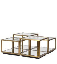 4-teiliges Couchtisch-Set aus Glasplatten und Metallgestell, mehrstufig