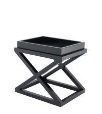 Tabletttisch mit gekreuzten Füßen aus Holz, Hochglanz schwarz von Eichholtz