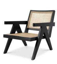 eleganter Armlehnstuhl von Eichholtz, Sitzfläche aus Wiener Geflecht, Ausführung Hochglanz schwarz