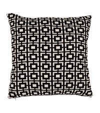 Kissenhülle aus Baumwolle mit geometrischem Quadrat-Muster Eichholtz, schwarz weiß