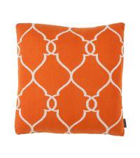Kissenhülle aus Baumwolle mit Trellis-Muster Eichholtz, orange & weiß