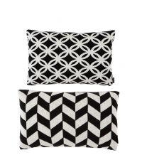 Dekokissen-Set aus Baumwolle mit geometrischem Muster Eichholtz, schwarz & weiß