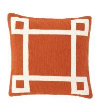 Besticktes Dekokissen aus Baumwolle mit geometrischem Muster Eichholtz, orange & weiß