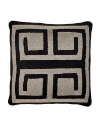 Besticktes Dekokissen aus Baumwolle mit Labyrinth-Muster Eichholtz, schwarz & grau