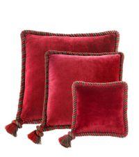 Dekokissen-Set aus Samt aus Baumwolle mit Seil-Keder Eichholtz, rot & taupe