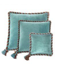 Dekokissen-Set aus Samt aus Baumwolle mit Seil-Keder Eichholtz, hellblau & taupe