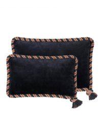 Dekokissen-Set aus Samt mit Baumwolle und Seil-Keder Eichholtz, schwarz & taupe