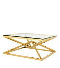 Moderner Tisch mit goldenen überkreuzten Füßen von Eichholtz