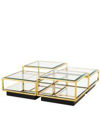 edles 4-teiliges Tisch-Set, Couchtisch aus Glas und Edelstahl von Eichholtz, gold