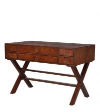 Vintage Schreibtisch mit sechs Laden und gekreuzten Füßen aus braunem Leder