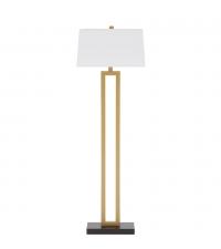 elegante, klassische Stehlampe in schwarz/gold mit weißem Lampenschirm