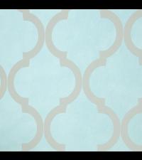 elegante, schimmernde Vliestapete Embrace mit großem Trellis-Muster, mint