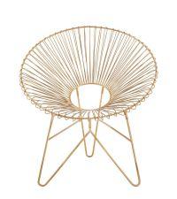 trendiger matt goldener Sessel aus Metall, moderner gerundeter Stuhl gold