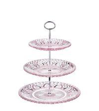 zartes Etagere aus rosa Glas mit Verzierung, groß