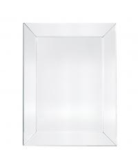 großer, eckiger Wandspiegel mit breitem Spiegelrahmen mit Facettenschliff