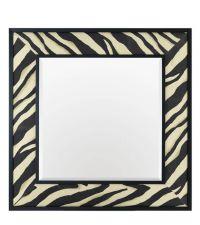 quadratischer Wandspiegel aus schwarzem Rahmen mit Zebra-Print-Muster aus Stoff und abgeschrägtem Spiegelglas, Eichholtz