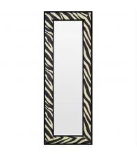 rechteckiger Wandspiegel aus schwarzem Rahmen mit Zebra-Print-Muster aus Stoff und abgeschrägtem Spiegelglas, Eichholtz