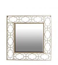 quadratischer Wandspiegel mit zartem goldenen Rahmen mit Trellis-Muster