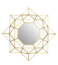 achteckiger Wandspiegel mit zartem goldenen Rahmen aus Metall