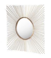 großer, quadratischer Wandspiegel in Sonnenform, gold