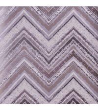 Tapete mit Zickzack-Muster, Hintergrund matt lilagrau mit lila und beigen Streifen