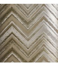 schimmernde Tapete mit Zickzack-Muster, Hintergrund silbergold mit goldenen und silbernen Streifen