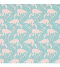 Tapete mit Flamingos, Hintergrund türkis matt und Flamingos rosa matt