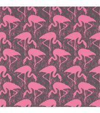 Tapete mit Flamingos, Hintergrund schwarz matt und Flamingos rosa matt