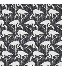 Tapete mit Flamingos, Hintergrund schwarz matt und Flamingos weiß matt