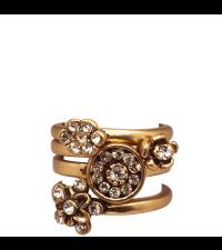 vier Lisbeth Dahl Ringe Set antik gold, Größe S