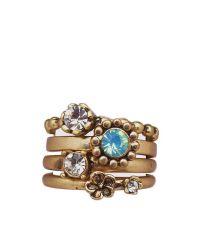 Lisbeth Dahl Ringe Set mit 4 Ringen matt gold mit Dekosteinen