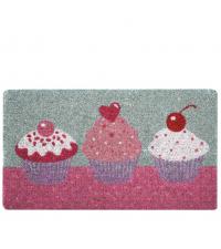 süße Türmatte mit Cupcake Motiven Fußmatte pink