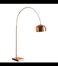 kleine, glänzende Stehlampe aus Metall mit rechteckigem Fuß