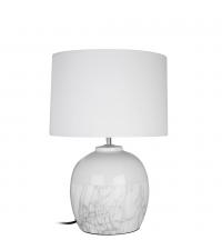 bauchige Tischlampe mit weißem Keramikfuß in Marmor-Optik