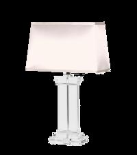 Tischlampe mit flachem Lampenfuß aus Kristallglas, Lampenschirm beige
