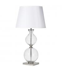 große Glaskugellampe aus klarem Glas, Lampenschirm weiß