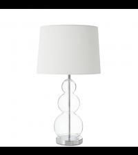 Tischlampe mit klarem Glaskugelfuß und weißem Lampenschirm
