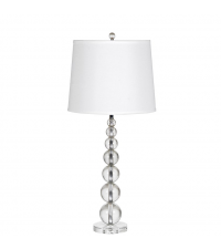 Tischlampe mit vielen kleinen Glaskugeln und weißem Lampenschirm