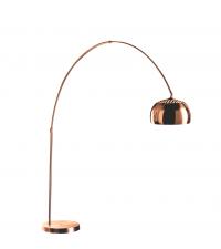 große, glänzende Stehlampe aus Metall mit Kupfereffekt