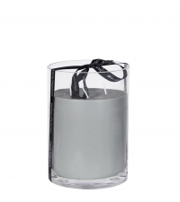 große Duftkerze hellgrau in klarem Glas gegossen mit schwarzer Satinschleife