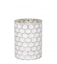 großes Teelichtglas mit Wabenmuster matt weiß & gold