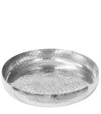 großes, rundes Tablett, Teller mit orientalischer Musterung in Hammerschlag-Optik, silber