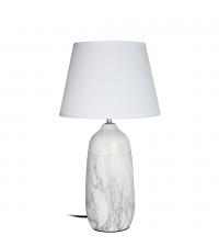 hohe Tischlampe mit weißem Keramikfuß in Marmor-Optik